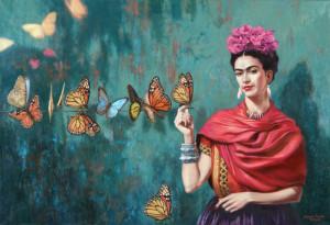 frida_kahlo_autoportrait_aux_papillons_buchidindron_sur_fond_bleu-vert_